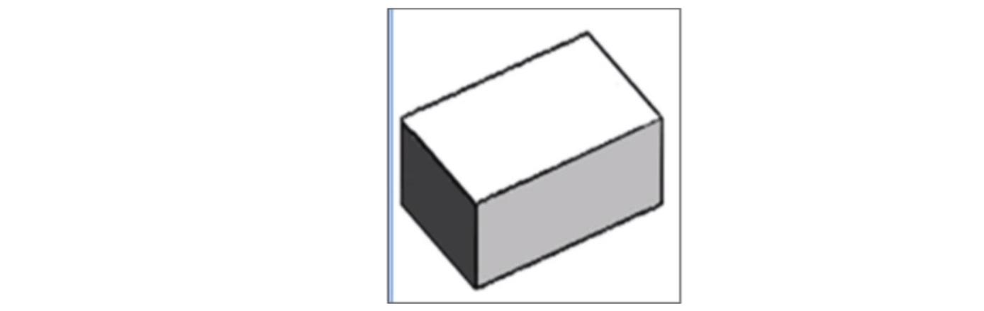 Representação tridimensional de uma caixa com base quadrada e faces retangulares