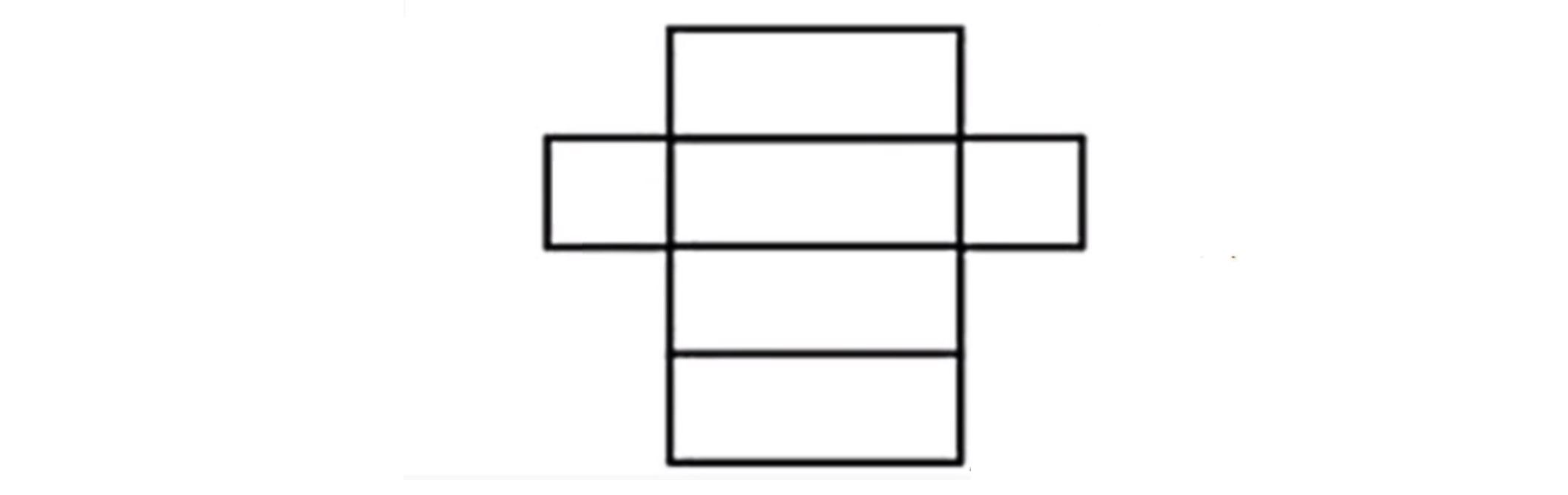 Esboço planificado da caixa com base e tampa quadradas iguais, e quatro faces retangulares iguais