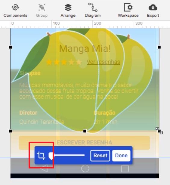 """projeto no modo edição do Moqups com a área da figura sendo arrastada e cortada até se alinhar com o fundo modificado anteriormente, estando acima do botão de """"escrever resenha"""", com ícone da ferramenta de corte em destaque"""
