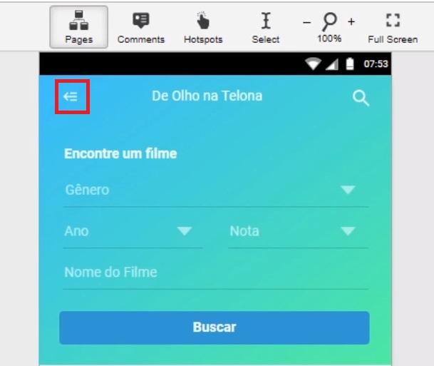 Página inicial da aplicação com um ícone em destaque