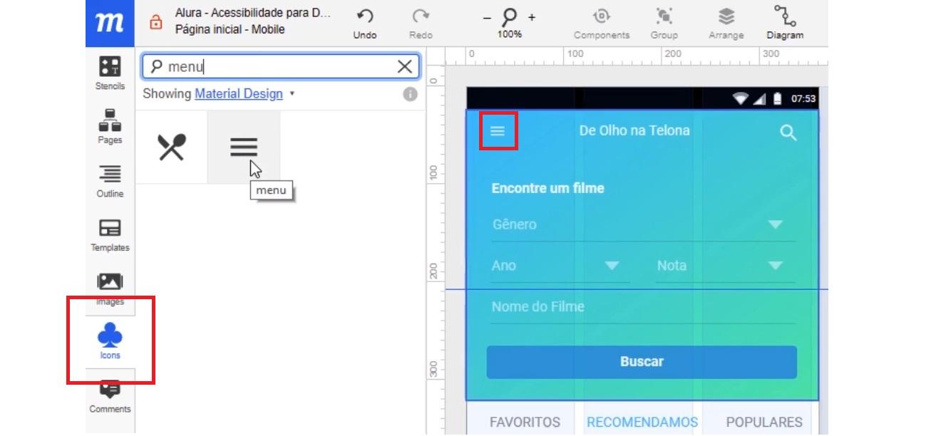 """Janela lateral da opção """"Icons"""" aberta com resultado da busca por """"menu"""", com destaque para o ícone de """"Icons"""" e para o novo símbolo substituto na página de busca"""
