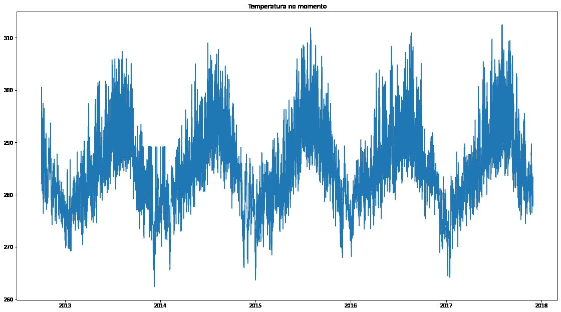 """gráfico de séries temporais intitulado """"temperatura no momento"""". o eixo y compreende valores de temperatura de 260 a 310, escalonados de 10 em 10. o eixo x possui valores de tempo de 2013 a 2018, escalonados de 1 em 1. o gráfico plotado na cor azul oscila formando um padrão de pontos mínimos (abaixo de 270) nas viradas de ano e pontos máximos (acima de 300) nos seus meados. as temperaturas aumentam e decrescem gradualmente entre esses pontos."""