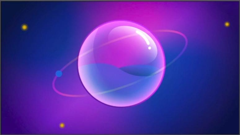 Imagem produzida no Illustrator com uma bolha central transparente e com nuances que variam do rosa ao azul e roxo majoritariamente, com reflexos brancos feitos em gradiente de cor. Ao seu redor, há uma espécie de trajeto de órbita ao redor desta figura central, com um círculo bem pequeno sobreposto a esta órbita. Há três pontos luminosos em amarelo espalhados ao fundo.