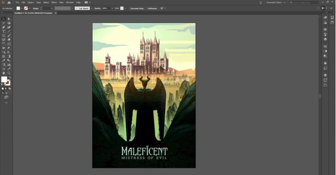 """Adobe Illustrator aberto com uma imagem colorida de uma ilustração digital do filme """"Maleficent - Mistress of Evil"""". Nesta, está de dia e há uma figura central de costas com chifres e alada com as asas fechadas, a qual observa um castelo iluminado ao longe a partir de um penhasco rochoso e escuro. Na altura dos pés da figura, está o título do filme."""