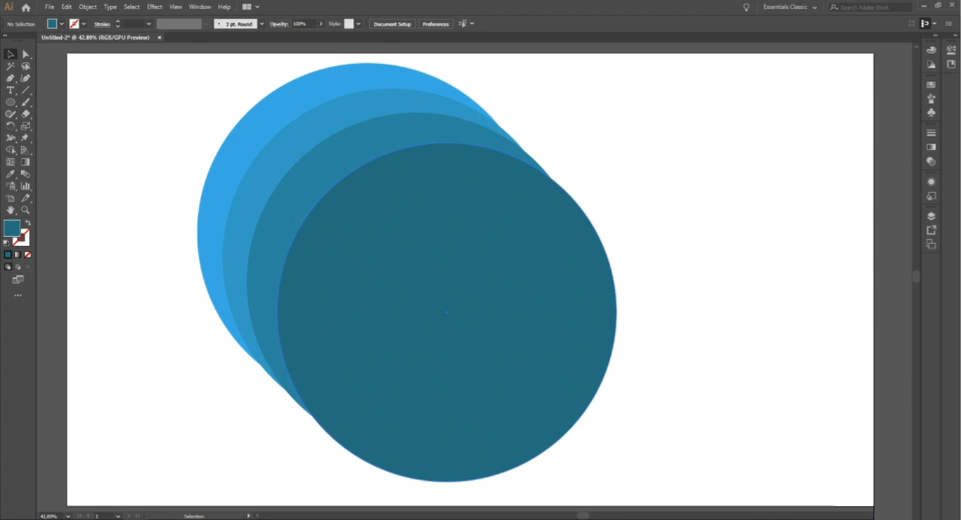 Adobe Illustrator aberto com uma imagem colorida em fundo branco contendo uma sequência de quatro círculos sobrepostos que vão de um azul claro a um azul escuro.