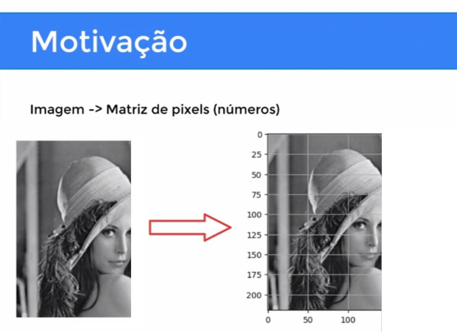 """Imagem com título """"Motivação"""" e subtítulo """"Imagem -> Matriz de pixels (números), contendo uma fotografia em preto e branco de uma mulher usando chapéu e olhando por cima do ombro, seguido de uma seta que aponta para a mesma imagem com uma malha quadriculada sobreposta com valores de duzentos a zero nas linhas do eixo vertical e zero a duzentos no horizontal."""